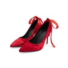 Womens Ladies Fashion Velvet Pointed Toe Bowtie High Heel Court Shoes Pump AGOQ