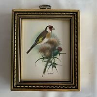 Vintage Framed Art Print Goldfinch on Thistle Plant Antique Gold Toned Frame