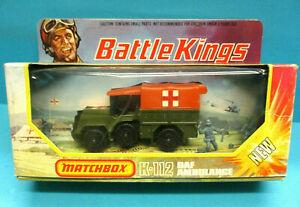 MATCHBOX K-112 BATTLEKINGS DAF AMBULANCE 1976 DIECAST ORANGE TENT MIB VERY RARE
