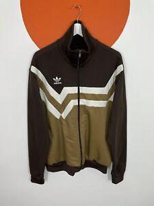 Men's Vintage Adidas Originals Track Jacket Tracksuit Top Brown UK Size X-Large
