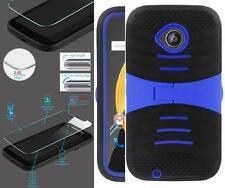 NP ARMOR Glass Screen Guard + Case For Motorola Moto E (2nd Gen) XT1527 uBLk/BLU