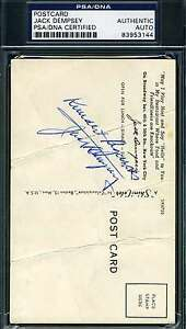 Jack Dempsey Signed Psa/dna Postcard Authentic Autograph