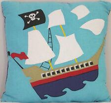 PIRATE SHIP PILLOW : BOYS TREASURE ISLAND BLUE ACCENT TOSS CUSHION