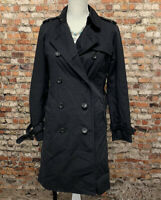 UNICLO Women's Size XS Black Lined Button Front Long Trench Coat #2F15