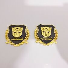 Car Metal Badge Emblem Sticker Transformers Autobot Gold  3D Logo ×2 best metal