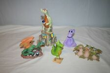 5 Dragon Figurines See Hear & Speak No Evil, Purple, With Owl & More