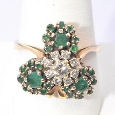3094-14K YELLOW GOLD EMERALD AND DIAMOND RING  0.40CTW 7.00GRAMS SIZE 10
