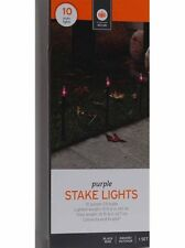 Halloween 10 Purple Stake Light Pathway Driveway Black Wire Lighted Length 13 ft