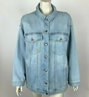 Eileen Fisher Organic Cotton Stretch Denim Jacket Long Sleeve Women Large NWT