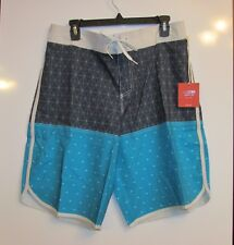 NEW MOSSIMO HYBRID Board Shorts Mens SWIMSUIT TRUNKS BLUES LINES DOTS