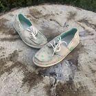 SANUK Women's Tropic Sail Away Natural Palm Trees Canvas Boat Shoes Size 6.5