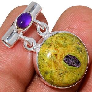 Rare Atlantisite & Amethyst 925 Sterling Silver Pendant Jewelry AP222210