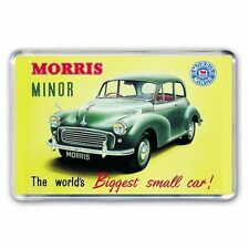 RETRO MORRIS MINOR  ADVERT BIGGEST SMALL CAR JUMBO FRIDGE / LOCKER MAGNET