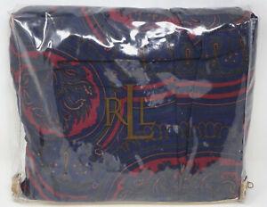 """NEW Ralph Lauren Millbrook Navy Blue Red Paisley Floral Queen Bedskirt 60"""" x 80"""""""
