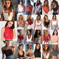 Womens Tank Tops Cami Sleeveless T-Shirt Summer Vest Crop Top Tee Blouse lot UK