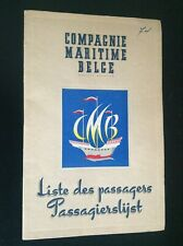 Rare Liste passagers Compagnie maritime belge 1956