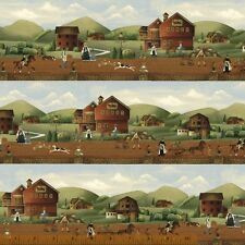 BY the YD~WINDHAM FABRIC~COUNTRY STORE~SCENE~HOUSES~BORDER PRINT~41274-X