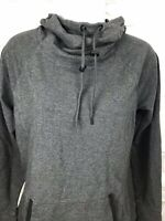 Athleta Heathered Gray Sweatshirt Cowl Neck Hooded Women Size Small