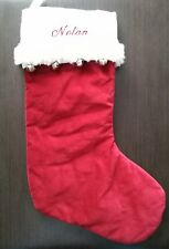 Pottery Barn Kids Luxe Bells Red White Fur Trimmed Velvet Stocking Name NOLAN