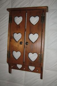 2=Door Wall Display Shelf Cabinet Solid Pine Wood Hearts w/9 Shaker Pegs