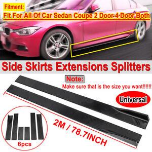 """2m 78.7"""" Universal Car Side Skirts Extension Rocker Panel Splitter Lip PP Glossy"""
