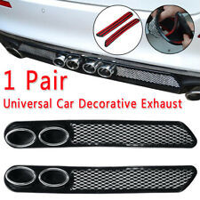 Pair Universal Car Styling Fake Decorative Vent Grid Exhaust Muffler Double Pipe