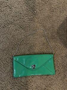 Green patent clutch/purse vintage