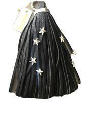 Malissa J Bolso Llavero Bolso Encanto Borla, Efecto Cuero Negro Con Estrellas