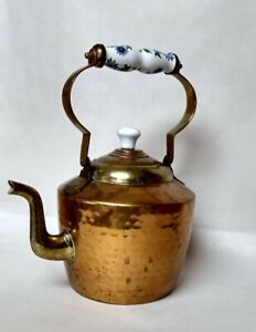 """Brass & Copper Metal Tea Kettle With Blue & Green Ceramic Handle 11"""" Hammered"""