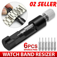 Metal Adjustable Watch Band Bracelet Repair Tool Link Pin Remover 6 Replace Pins