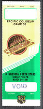 Vancouver Canucks vs Minn North Stars March 29 1981 Void/Unissued Ticket Stub