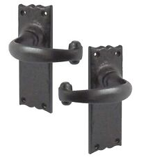 Rustic Door Handles without Key Hole Black Cast Iron (Backplate 55mm x 158mm)