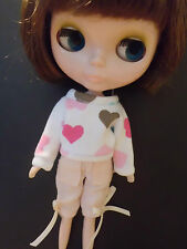 Blythe Doll Outfit Clothing Colorful Heart Print White Loosen Tee