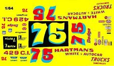 #75 Bruce Hartman 1967-73 Dodge 1/64th Ho Scale Slot Car Waterslide Decals