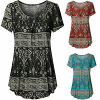 Summer Women Scoop Neck Pleated Large Short Sleeve Blouse Top Tunic T-Shirt New