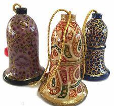 Handpainted Kashmiri lacquerware Set of 3 Large Bell Christmas Tree Decorations