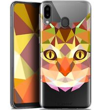 "Gel Case Cover for Samsung Galaxy M20 (6.3 "") Extra Fine Polygon Animals - Cat"