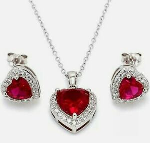6ct Love Heart Read Ruby Necklace set with Earrings Women 18K White Gold Plated
