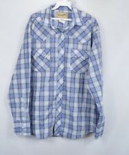 Vintage 90s Wrangler Mens Large Long Sleeve Pearl Snap Western Shirt Blue Plaid