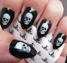 SKULL Nail Art Decals 35 Realistic White Skulls Gothic Halloween Waterslide Nail