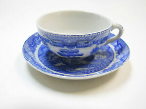 Vintage Blue Willow Transferware Child's Toy DishesTea Set Cup and Saucer