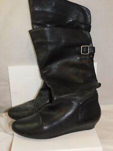 Steve Madden INCCA sz 8.5 Black Leather Slip on  High Boot Wedge Heel