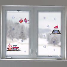 Fenstersticker Fensterfolie Fenster Deko Winter Eulen Vögel Ast Schneeflocken