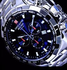 Swiss Military Herren Männer Armband Uhr Blau Silber Farben 10 Atm Edelstahl