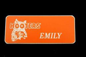 Hooters Uniform Emily Name Tag Nametag Waitress Bartender Badge Pin