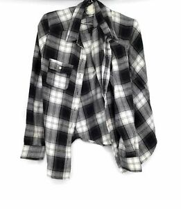Mossimo Women's Black & White Flannel Long Sleeve Shirts Lot Size L