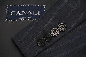 Canali Gray Striped 100% Wool 2 Pc Suit Jacket Pants Sz 46R EXCELLENT