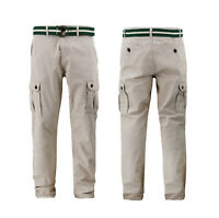 Men's Belted Multi Pocket Utility Work Trousers Cotton Army Cargo Pants
