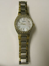 (W) FOSSIL GOLD & SILVER MOP DIAL CRYSTAL WATCH ES4183 PRE-OWNED WORKING BATTERY