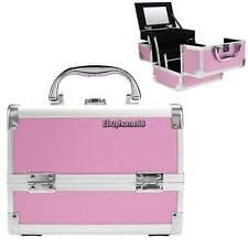 Aluminum Cosmetic Train Case Lockable Makeup Organizer Box w/Mirror Pink